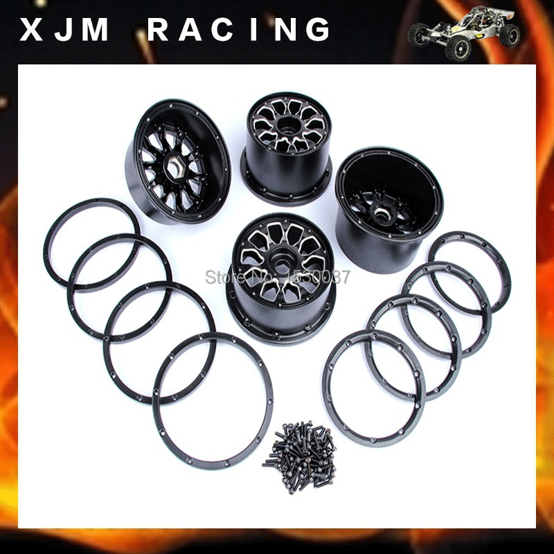 CNC alloy metal wheel hub set fit HPI KM Rovan baja 5B  Free shipping cnc metal front elevation shield for1 5 hpi baja 5b km rovan