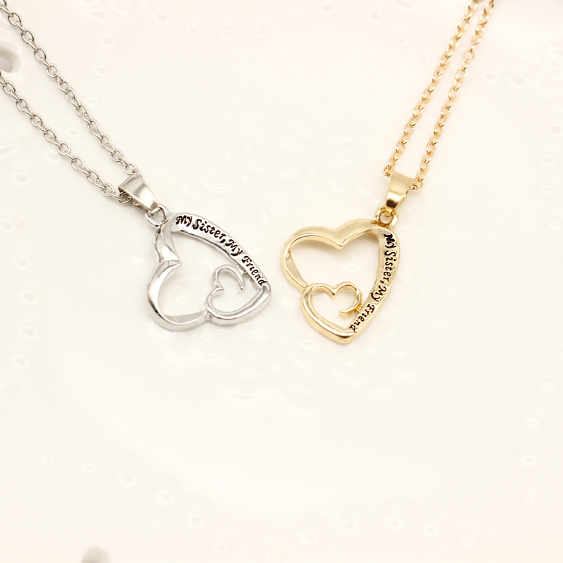 Women Ladies New Statement Silver and Gold Double Heart Pendant Necklace COLOUR