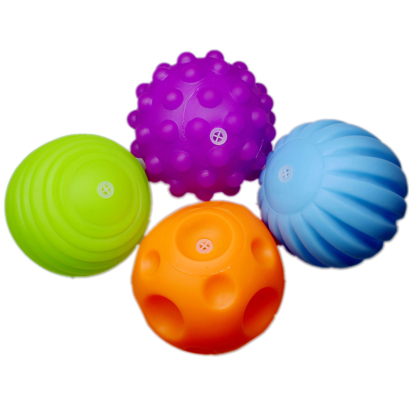 4 PCS Baby Touch Hand Ball Toys Training Ball Massage Soft Early Education Ball W30