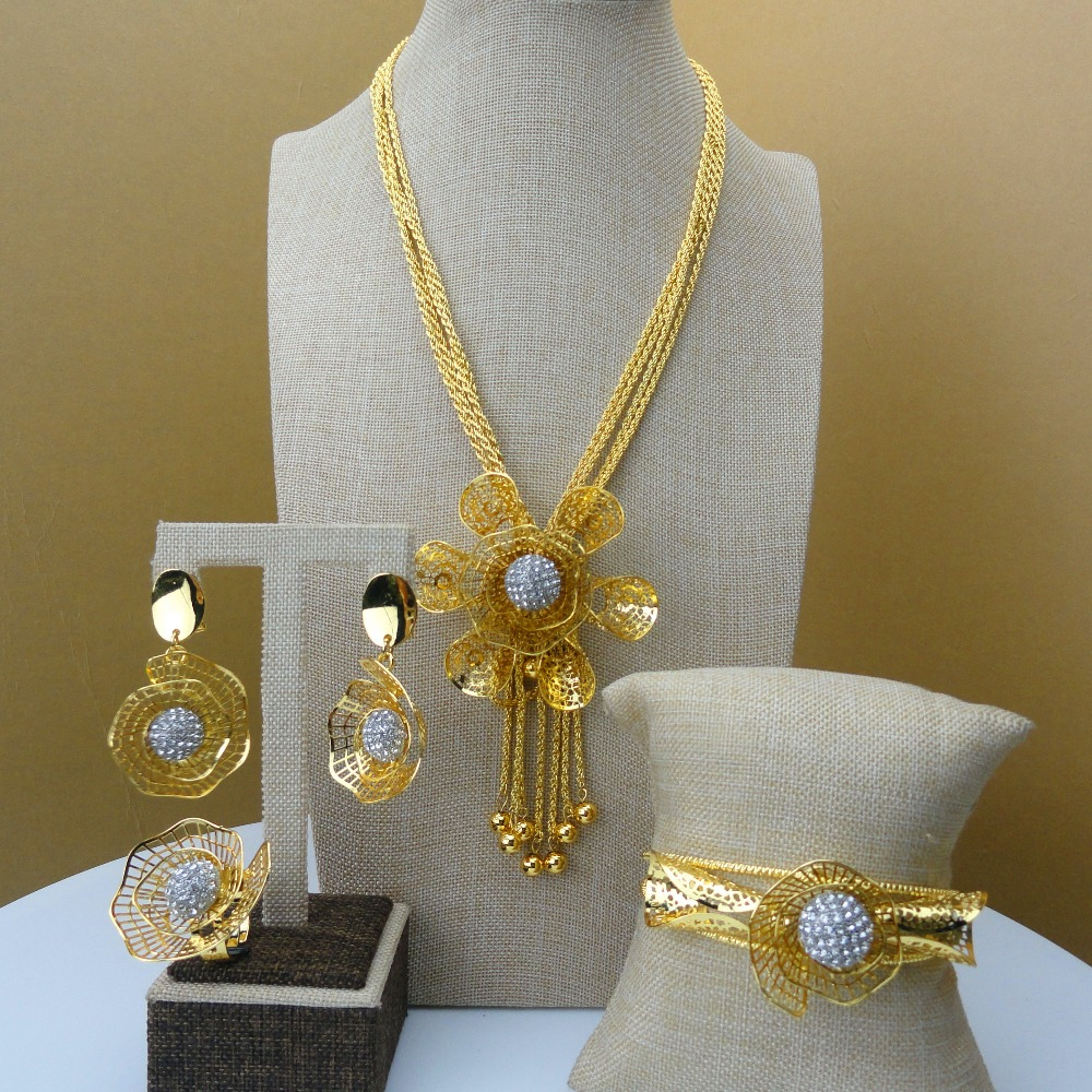 Yuminglai Dubai Gold Jewelry Lovely Flower Design African Fashion Jewelry Sets FHK5556