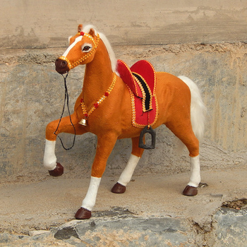 big simulation horse toy brown lucky polyethylene&furs horse model horse doll gift about 50x40cm 1973