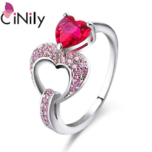 CiNily Purple & Pink Double Heart Ring Silver Plated Rainbow Mystic Stone CZ Crystal Filled Rings Romantic Lover Jewelry Gift