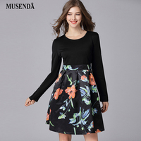 MUSENDA Plus Size Women Black Print Patchwork Tunic Dress New 2018 Spring Female Casual Sweet Dresses