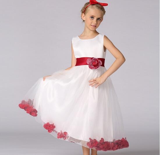 162 Violet Rouge Robes De Mariée Pour Petite Fille Rose Pétales Fleur Filles Robes De Demoiselle Dhonneur Princesse Robe Ballgown Robes Pricesa