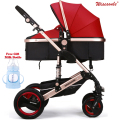 Luxury Baby Stroller  High-Landscape Pram Portable Folding  baby Carriage for Newborn Sit  and Lie Stroller Aluminum Tube