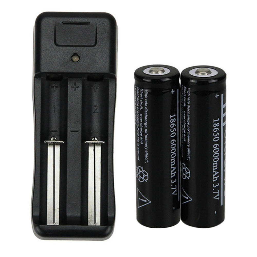 Black 2X <font><b>18650</b></font> <font><b>6000mAh</b></font> <font><b>3.7V</b></font> Li-ion Rechargeable Battery + 16340 14500 Lithium Battery Universal Charger US EU Plug image
