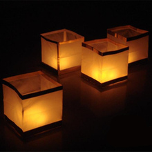 10pcs Chinese Square Wishing Lantern with candle Floating Water River light lamp wedding decoration party supplies candle lamp mom gift meditation gift romantic candle lamp with eight candle for bedroom beach house camping with green water liquid base with fish green tone