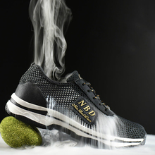 new arrival men big size casual steel toe covers work safety shoes summer breathable hollow mesh worker shoe security boots male ce certification rubber men and women safety work shoe covers oil slip resistant specialized works shoes light steel toe shoe
