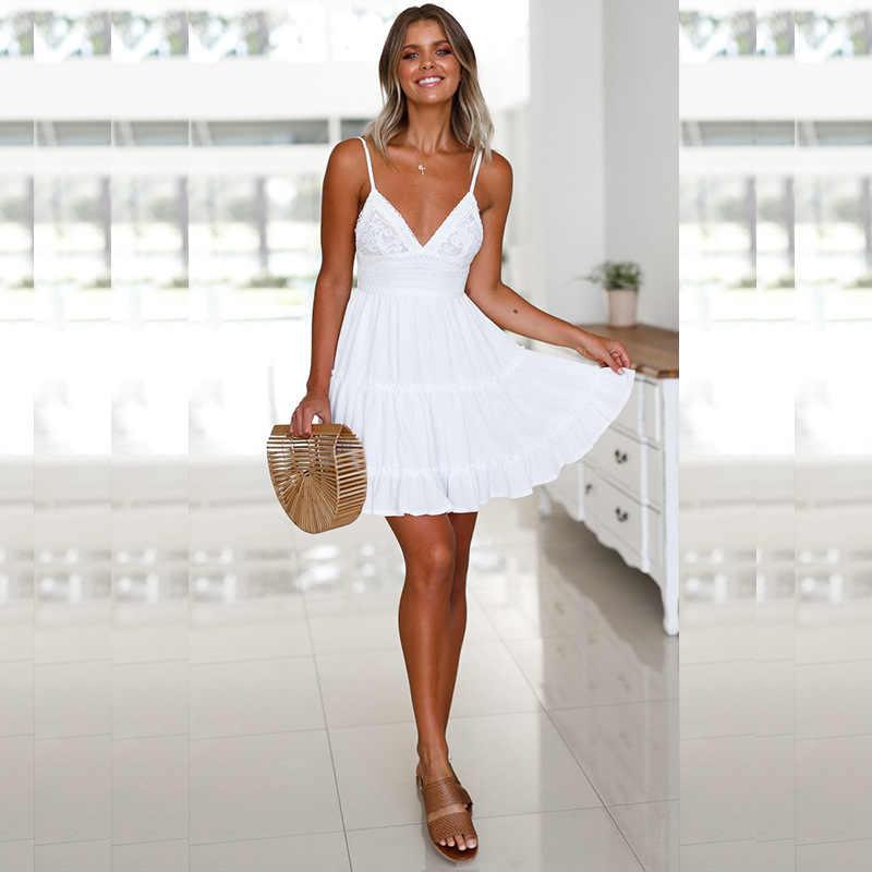 Сексуальное женское платье с открытой спиной и бантом на спине, Коктейльные Вечерние облегающие короткие пляжные вечерние мини-платья, женское белое кружевное платье