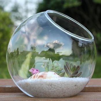 Betty Store 8pcs/pack Diameter=20cm Side Open Glass Ball Terrarium Landscape Container Fashion Home Decorative Glass Vase