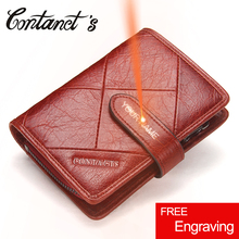 Wallet Women Genuine Leather Small Short Wallets Famous Brand Zipper Coin Purse Removed Design Plaid Ladies Money Bag Red Color