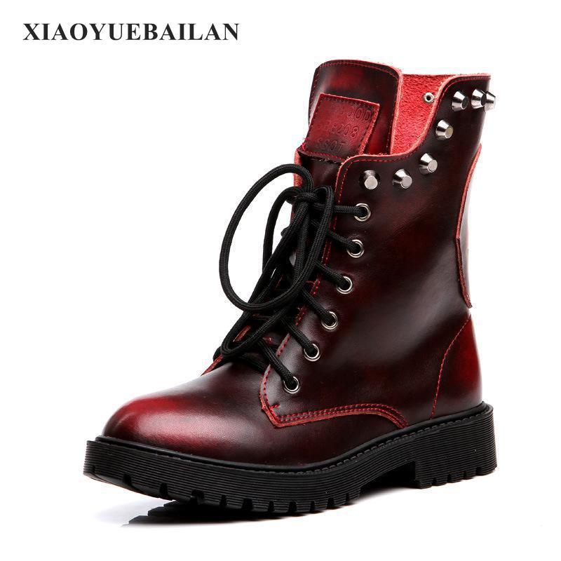 2017 nouvelles bottes d'hiver en cuir femme Rivet rétro à lacets devant Martin