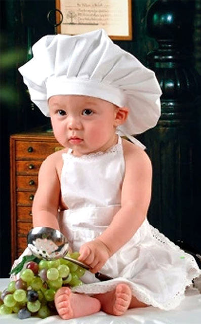 Cute Baby White Cook Costume Photo Photography Prop Newborn Infant Hat  Apron Chef Clothes For Kids e86953618edb