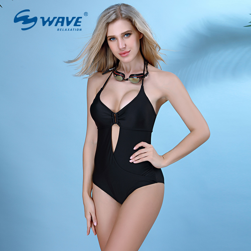 WAVE  Halter Tops New Sexy Lady High-Quality One Piece Swimsuit Spa Beach Wear Swimwear Women Sport Bathing suit Bikini Set 2017 may beach halter bikini one pieces indoor asian swimsuit miley cyrus costume departure beach black swimsuit seafolly