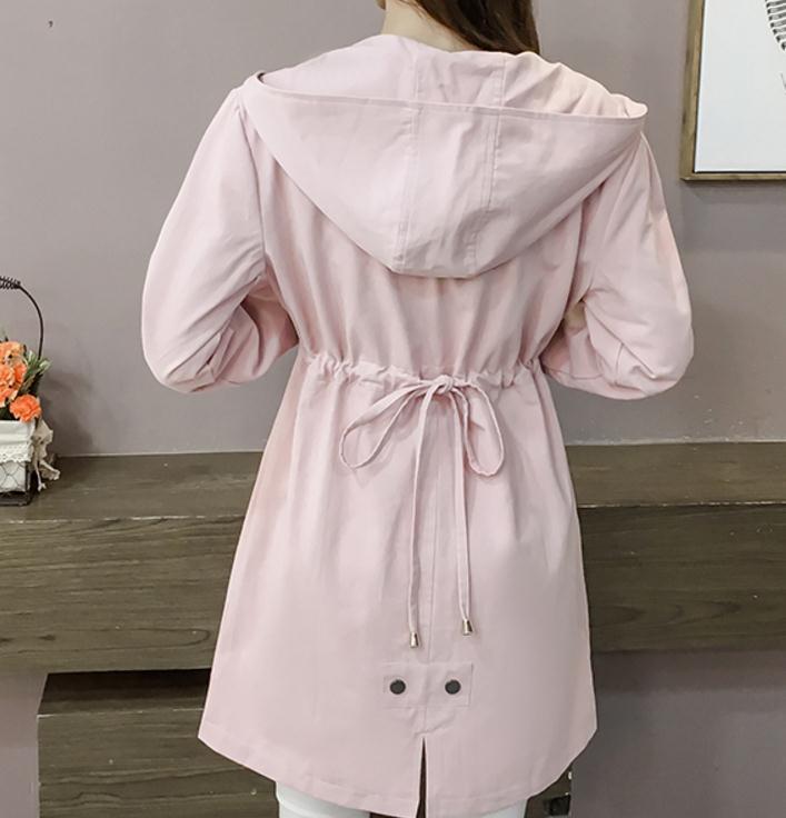 À Femme Nouveau vent Et Printemps Coupe Longueur Moyen 2018 Automne menthe Manches Capuche Rose Style Longues Coréen Pk0Ow8n