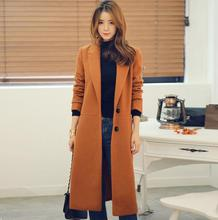 Ultra long cashmere coats womens overcoat female 2017 loose single breasted woolen coat womens outerwear black brown plus size
