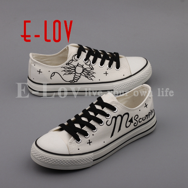US $39 0 |E LOV Fashion White Women Flat Shoes Casual Espadrille Hand  Painted Scorpio Horoscope Romantic Lovers Shoes -in Women's Flats from  Shoes on