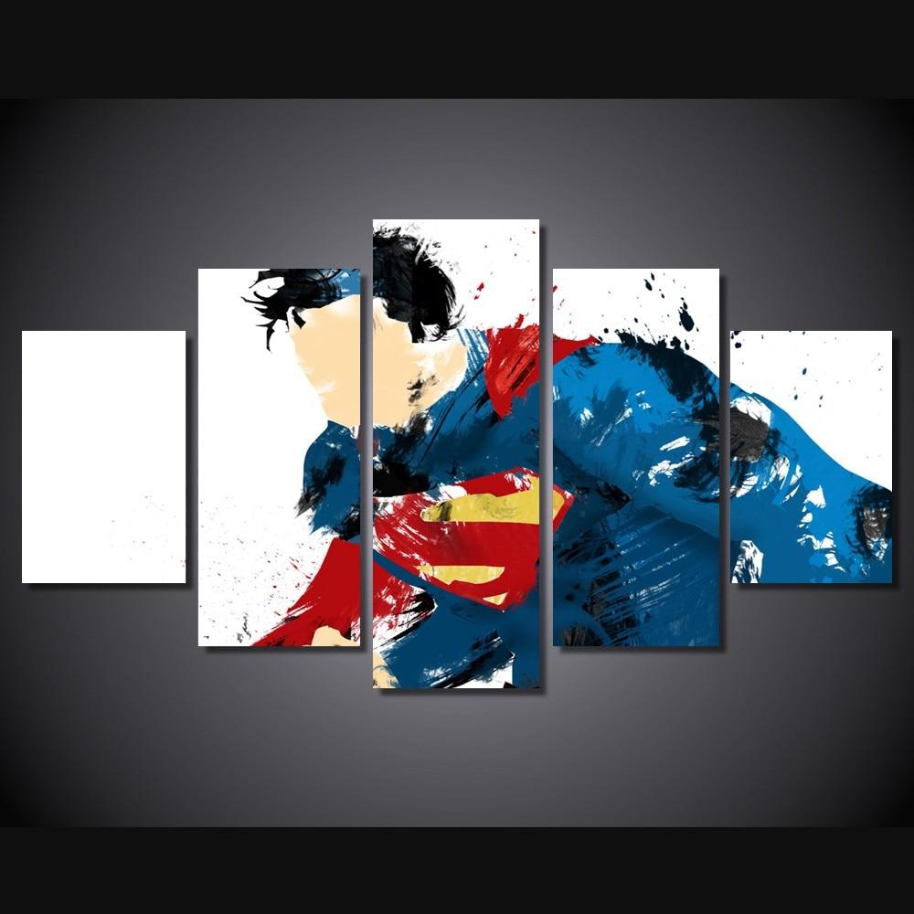 5 Teile/satz Gerahmte HD Gedruckt Superman Kunst Comic Bild ...