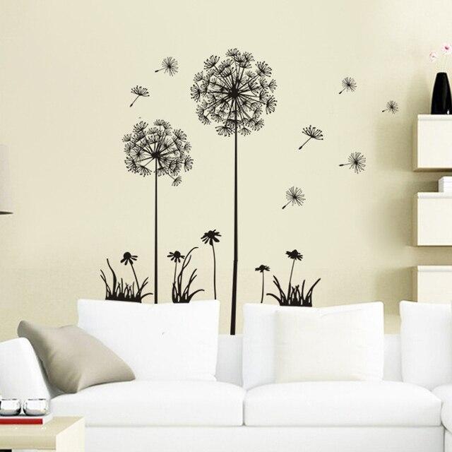Hitam Indah Dandelion Stiker Dinding Dekorasi Rumah Di Decals Ruang Tidur Mimpi