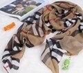 Marca Chiffon Lenços para As Mulheres Crânio/Leopard/Cat/Coração Chiffon Cachecol Foulard Xale Impresso Xadrez Verificado Cachecol Echarpes Femme