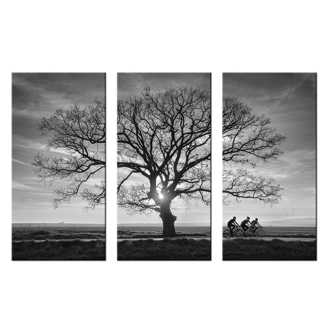 Sunset landscape painting black and white tree branches pictures wall decor canvas mountain bike team poster