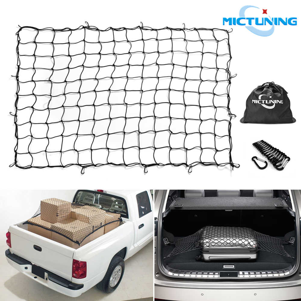 Heavy Duty Cargo Net with Hooks,Bungee Cargo Net,Stretchable Elastic Storage Net,Universal Rear Mesh Organizer,Large Capacity Roof Car Trunk Mesh,Car Roof Rack Elasticated Basket Net for Truck Bed