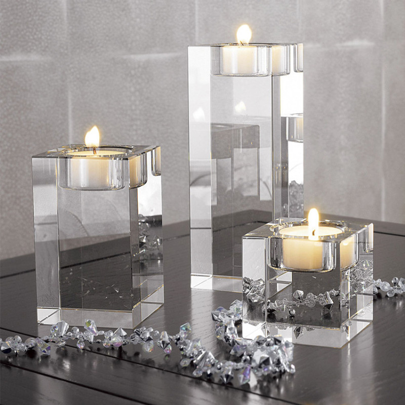 Crystal Candle Holder Religious Glass Tea Wax Frame Romantic Wedding Square Candlestick Home Decoration image