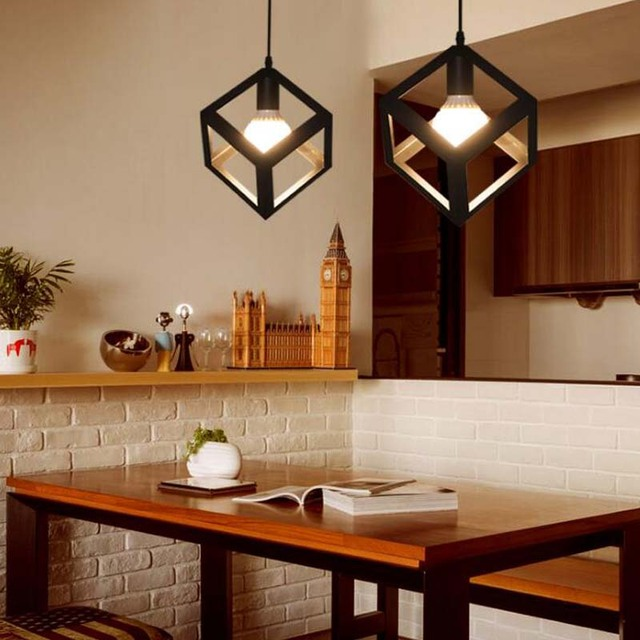 Vintage Pendent Lights Fixtures Modern Black Kitchen Bar Dining Room Comtemporary Residential Lighting Droplight