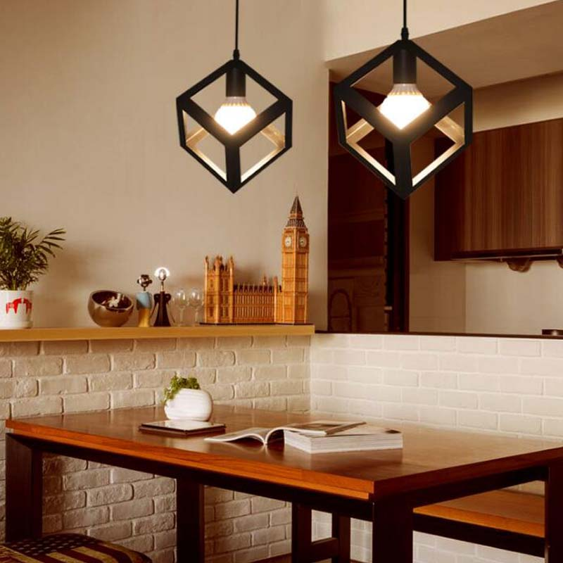 Vintage Pendent Lights Fixtures Modern Black Kitchen Bar Dining Room Comtemporary Residential Lighting Industrial Droplight