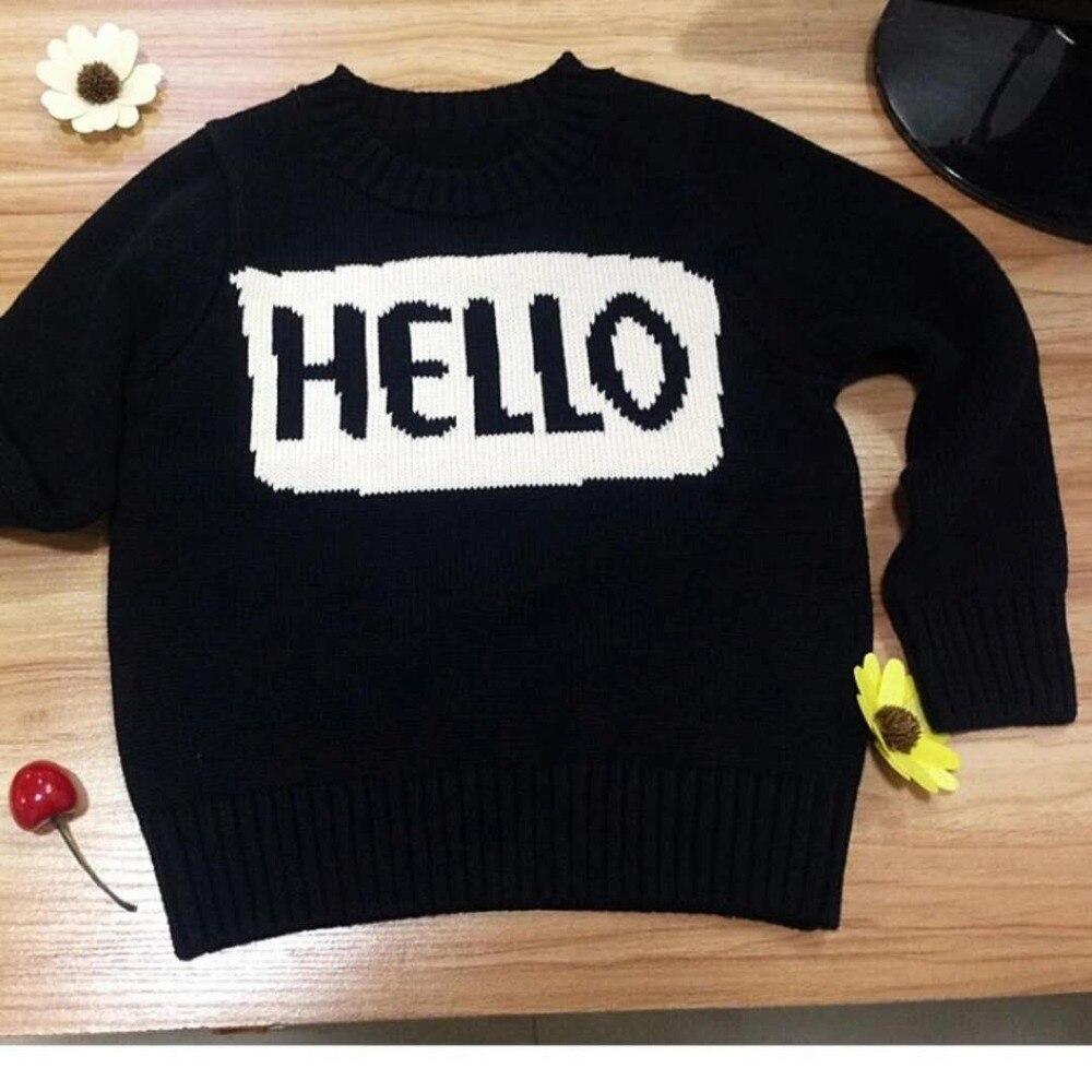 0-6yrs Baby Mädchen Jungen Hallo Brief Pullover Kinder Langarm Strickjacke Pullover Kinder Winter Herbst Frühling Mantel Tops