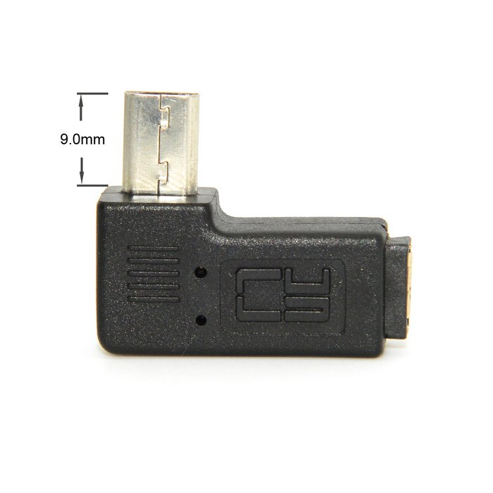 9mm Long Connector Plug 90 Degree Left & Right Angled Micro USB 2.0 5Pin Male to Female Extension Adapter Adaptor 90 degree left