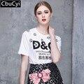 2017 Mulheres T-shirt Das Mulheres de Moda de Nova Top Tee Camisa de Lantejoulas Femmer Mulher pista branco letra Dos Desenhos Animados impressão Roupas (DG499)