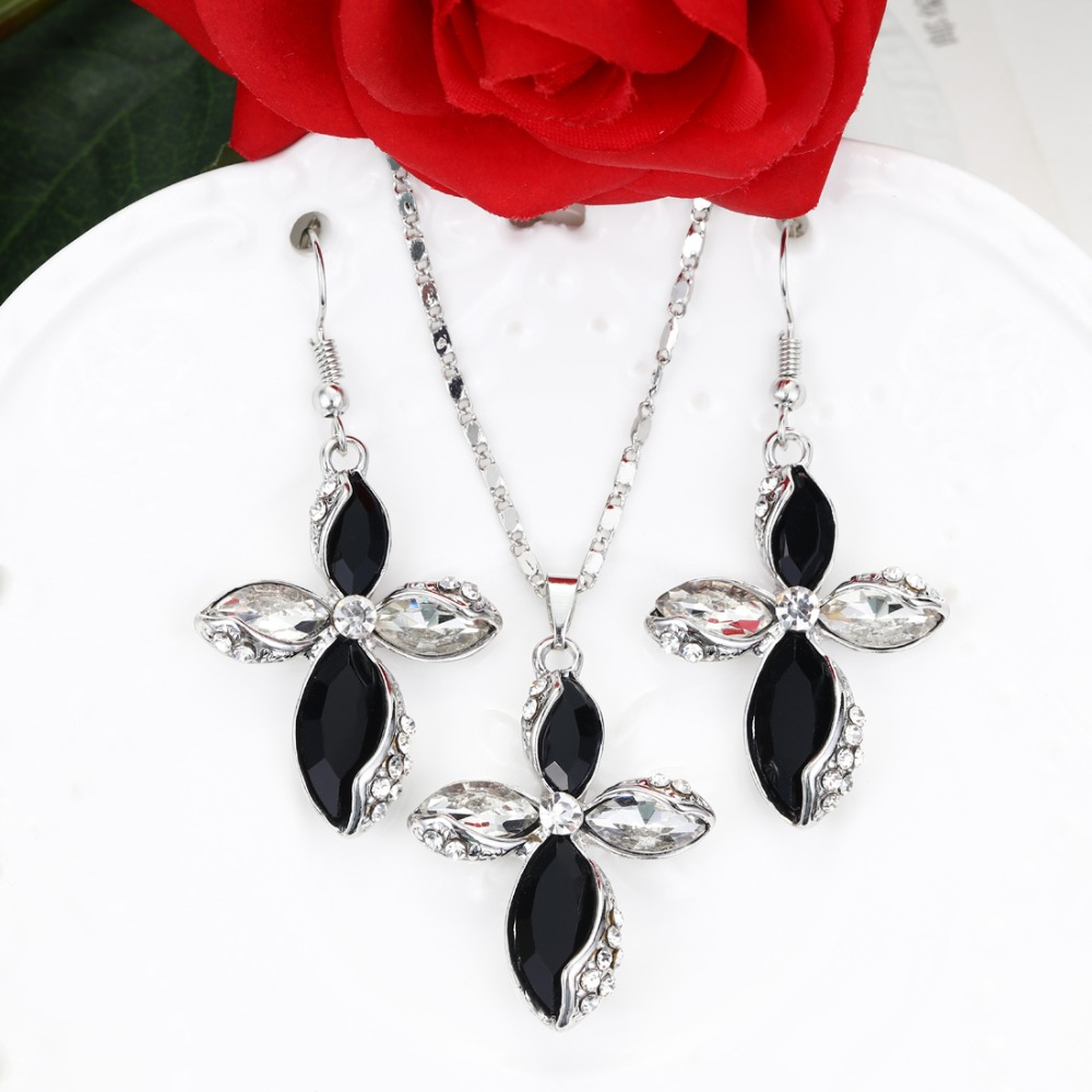 MINHIN Fashion Crystal Sets African Jewelry Set For Women New Design Cross Pendant Silver Necklace Earrings Set Christmas Gift