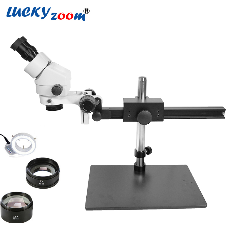 Luckyzoom-Brand-Professional-7X-45X-SINGLE-BOOM-Guide-STAND-25cm-Working-Distance-Binocular-Stereo-Zoom-Microscope