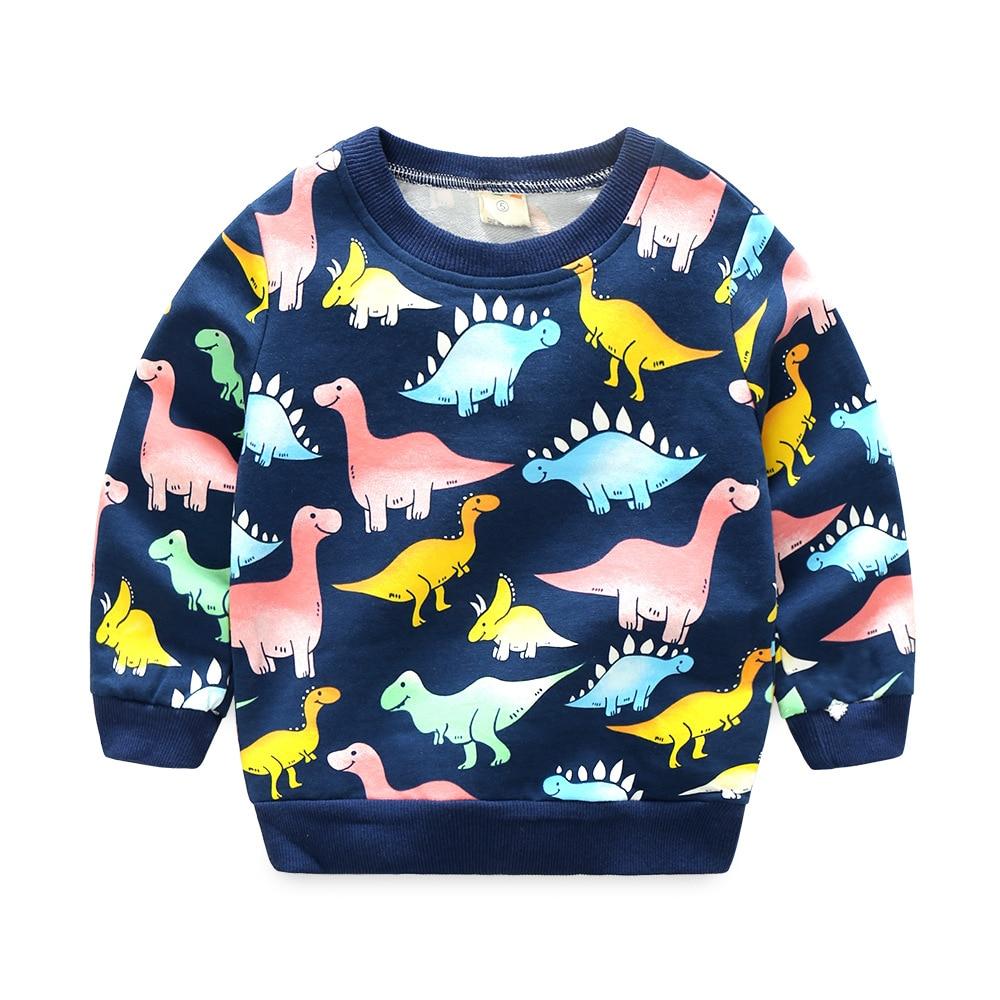 2017 Autumn Kids hoodies sweatshirts cotton Cartoon Print Jurassic World dinosaur boys girls Sweater coat tops baby clothes tees