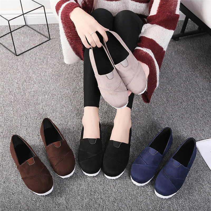 Women Casual loafers Soft Breathable Autumn Spring Cloth Flat Shoes Woman Slip on Casual New Flats Shoes Size 35-43 Sapatos #40 odetina 2017 new women pointed metal toe loafers women ballerina flats black ladies slip on flats plus size spring casual shoes