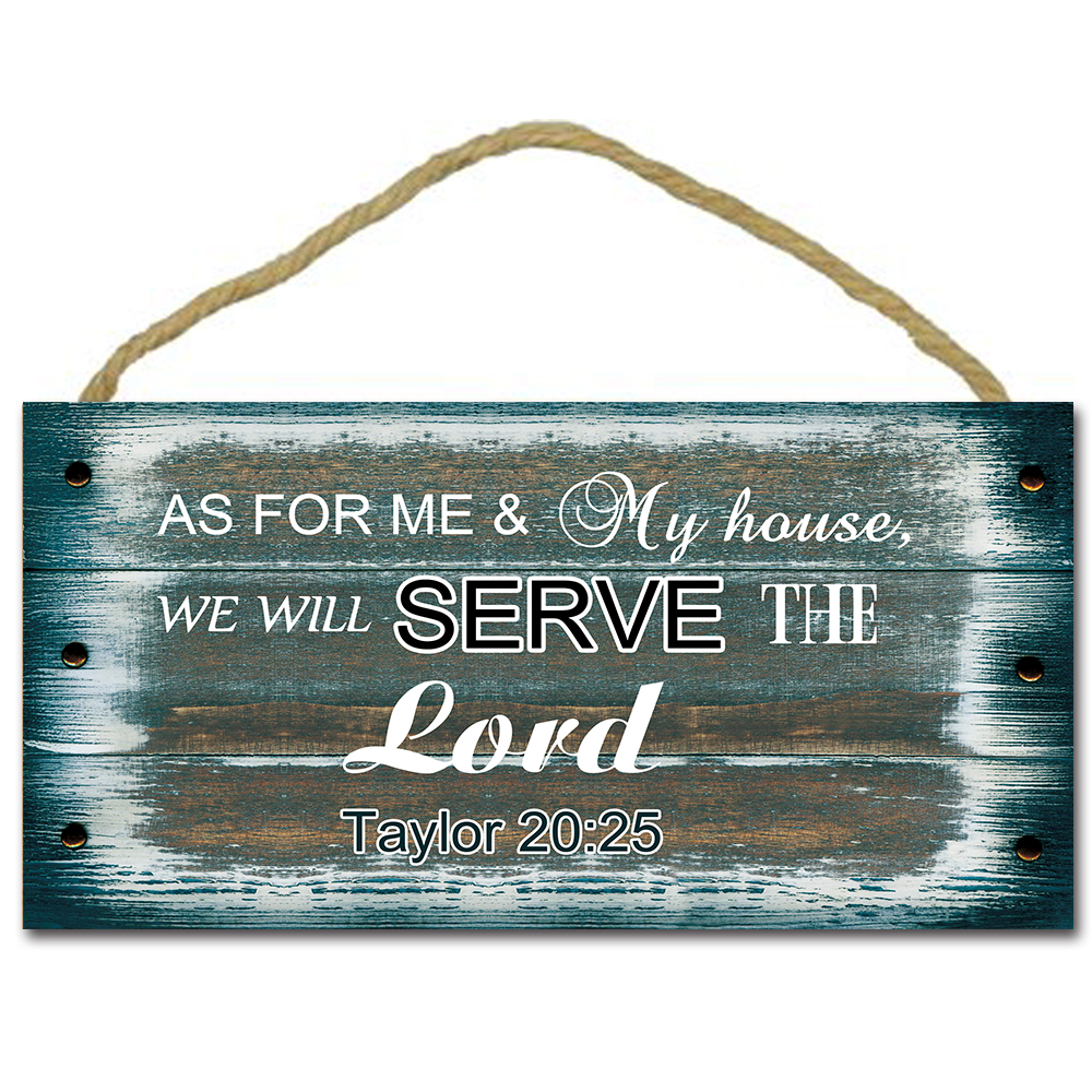 As for Me and My House We Will Serve the Lord Sign Board, Chic Wooden Hanging Plaque,Wood Hanging Board,Welcome Board,Home Decor
