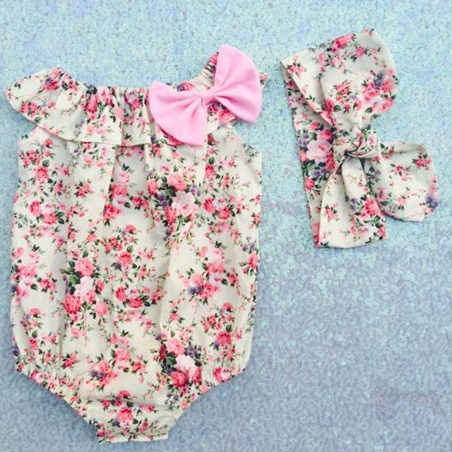 afcdc5836f0e Only Floral Print Boho Bubble Romper shabby chic Floral Baby Romper 1st  birthday girls outfit clothing