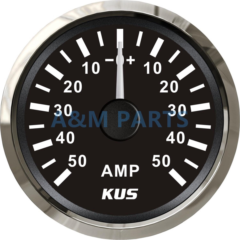 KUS Boat Ammeter Marine AMP Meter Gauge W/ Current Shunt Pick-up Unit 12/24V 50AKUS Boat Ammeter Marine AMP Meter Gauge W/ Current Shunt Pick-up Unit 12/24V 50A