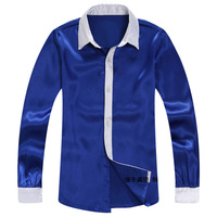 2016 Multicolor Group Stage Bright Blue Satin New Singers Chorus Shirt For Men