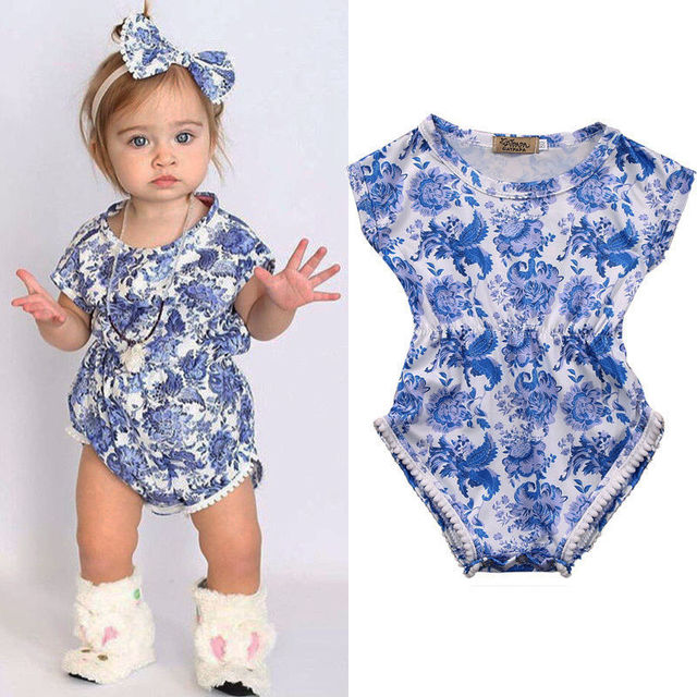 352c5c2010e7 2018 New Infant Newborn Baby Floral blue and white Short Sleeve Bebes Girls  Romper Jumpsuit One