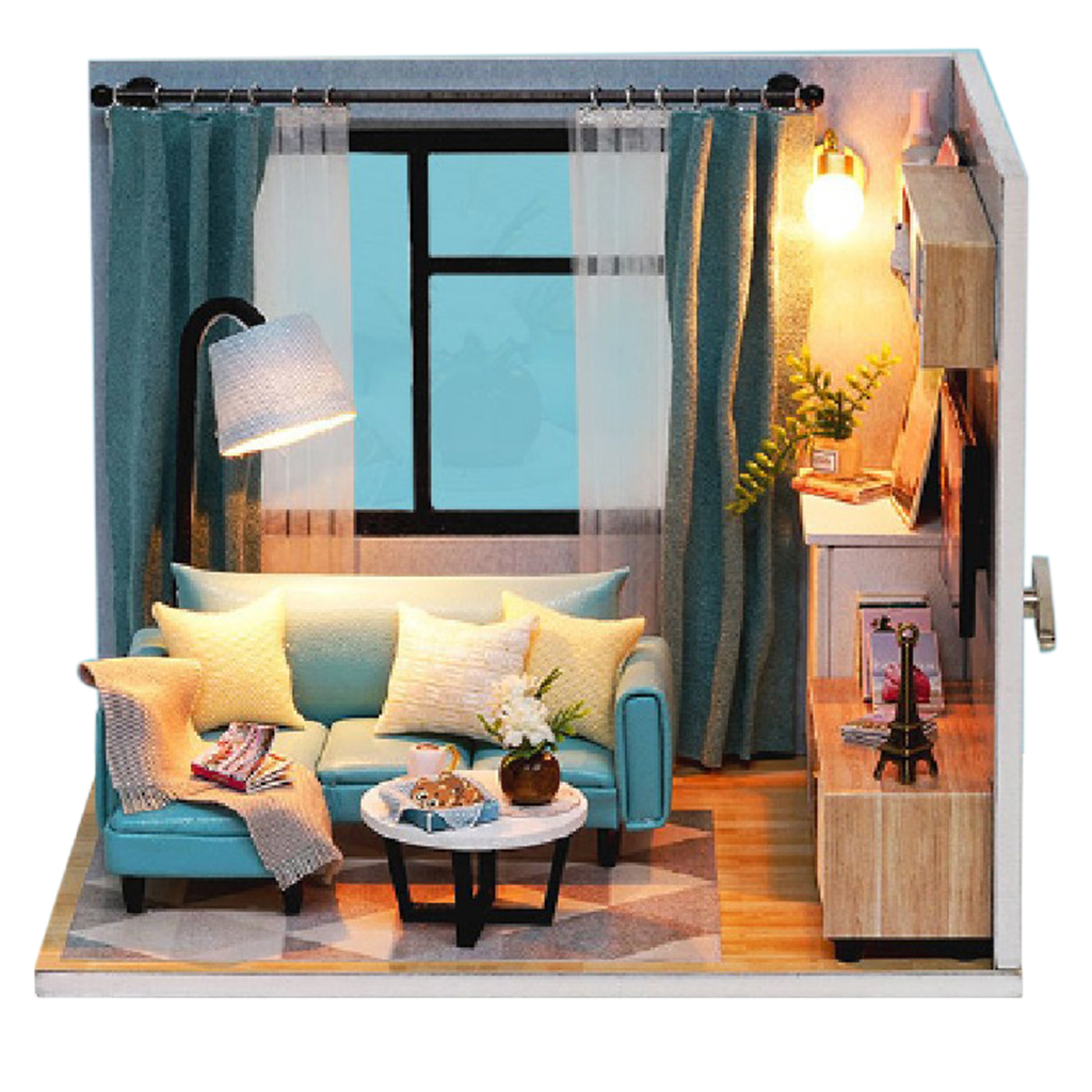 Diy Miniature Dollhouse Kit Cozy The Corner Of Living Room With Furniture And Light For Romantic Artwork Happy Life Reunion Doll Houses Aliexpress