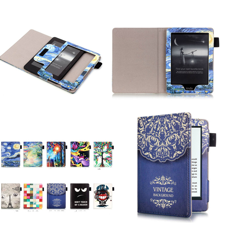 CY  Magnet PU Leather Cute Book Cover Case For Amazon All-New Kindle 2016 Release E-reader 6 8th Generation  Fashion Printing walnew leather case for amazon kindle paperwhite 6 inch e book cover fits all versions 2012 2013 2014 and 2015 all new 300 ppi