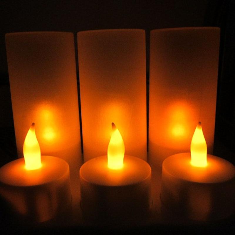 LED Candle holders Light decoration 6Pcs(set) Tea Light Rechargeable LED Candle Light Christmas birthday wedding + Charging