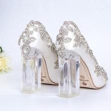 Düğün ayakkabı gelin açık topuklu kristal pompaları noel günü akşam parti lüks kraliçe saten ipek 10cm kare topuk artı boyutu 10