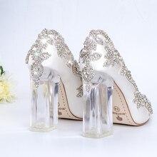 Hochzeit Schuhe Braut Klar Heels Kristall Pumpen Weihnachten Tag Abend Party Luxus Königin Satin Seide 10cm Platz Ferse Plus größe 10