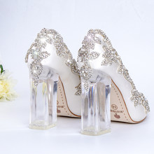 8c82ede4389 Wedding Shoes Bride Clear Heels Crystal Pumps Christmas Day Evening Party  Luxury Queen Satin Silk 10cm
