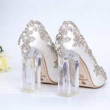 Zapatos de boda para novia, zapatos de tacón claros de cristal, fiesta de Navidad, noche, reina de lujo, seda satinada, tacón cuadrado de 10cm, de talla grande 10