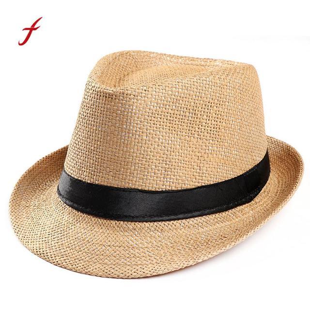 092ef63ad6f Feitong Men Women Caps Summer Sun Hats Unisex Adjustable Trilby Gangster Cap  Beach Sun Straw Hat