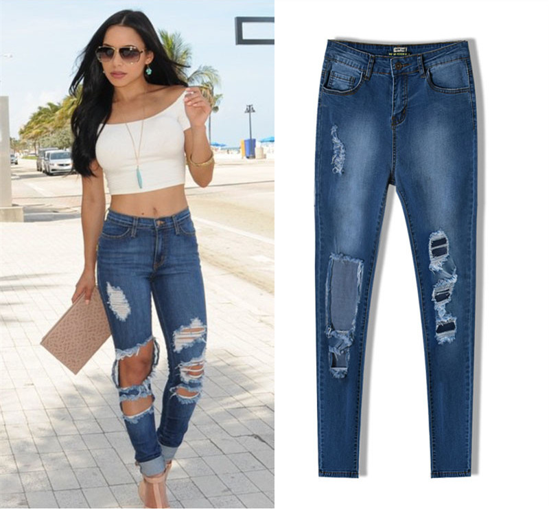 5eb4730af5 High waisted plus size women distressed pencil pants jeans skinny ripped  butt lifting slim denim jeans long close fitting pants-in Jeans from Women s  ...